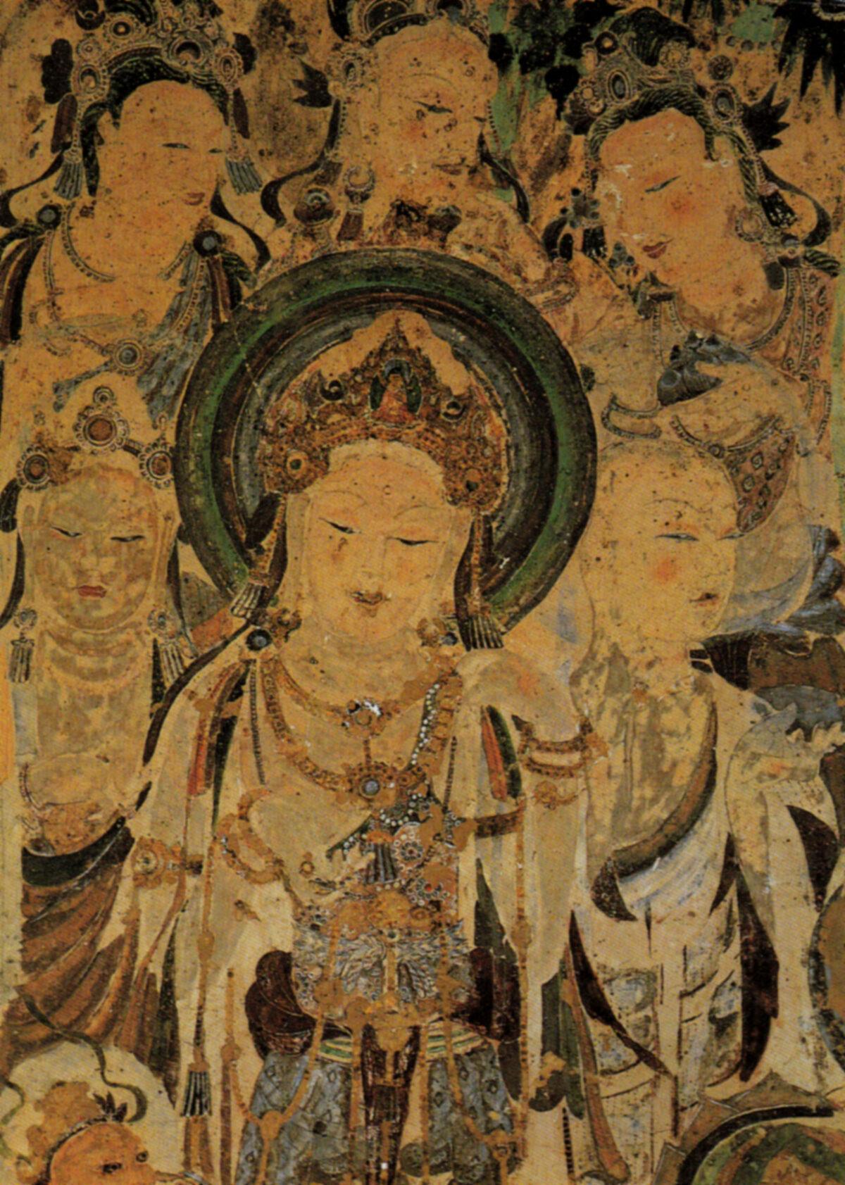 Mural de Avolokitesevara, cultuando Bodhisattvas e Mendicant. Dinastia Tang, A.D. 618-907 (US-PD)