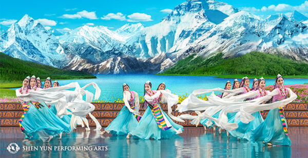 """Os dançarinos do Shen Yun fazem uma dança étnica tibetana """"Celebrando o Divino"""" (© 2016 Shen Yun Performing Arts)"""