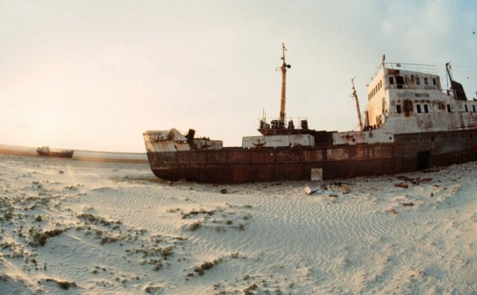 ARALSK, KAZAKHSTAN - UNDATED: An undated file photo shows abandoned ships sitting on the sand, where the Aral sea retreated, near the Kazakh city of Aralsk. (Photo by AFP/VICTOR VASENIN/Getty Images)