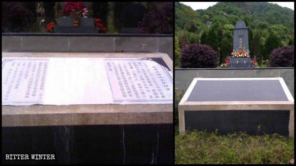 A biografia do padre foi removida de uma tábua de pedra colocada em frente ao seu túmulo em novembro passado