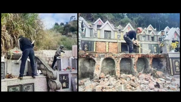 Lápides cristãs estão sendo demolidas (fornecidas por uma fonte interna)