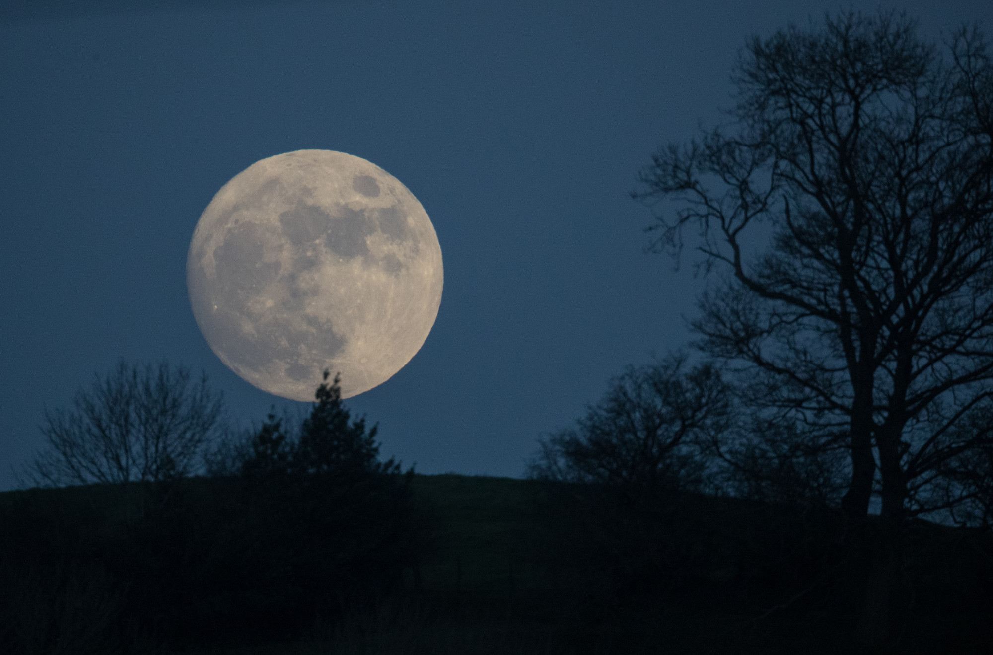 Uma lua de lobo nasce sobre Glastonbury Tor em Somerset, Inglaterra, em 11 de janeiro de 2017 (© Getty Images | Matt Cardy)