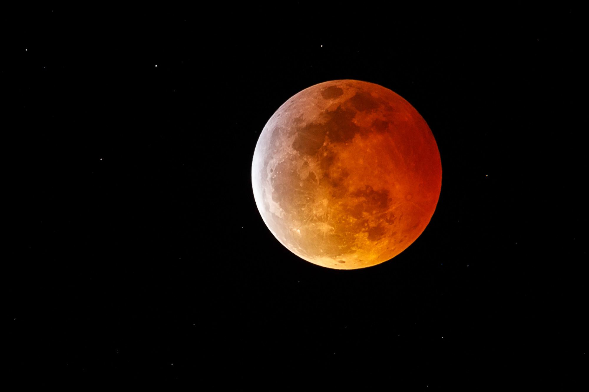 Umasuperlua de lobo vista sobre Marina Del Rey, Califórnia, durante o eclipse lunar total de 20 de janeiro de 2019 (© Getty Images | Rich Polk)