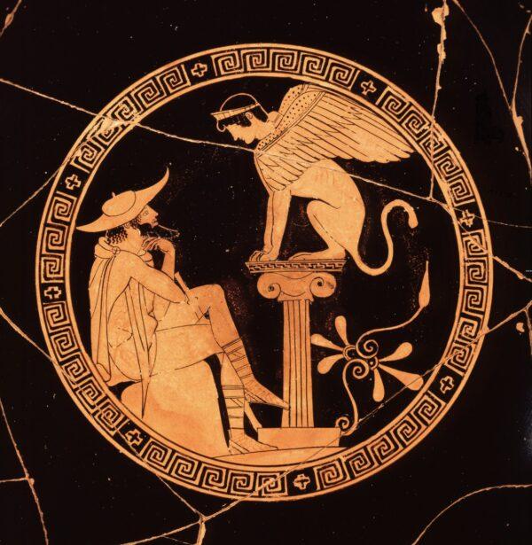 Édipo respondendo à pergunta da Esfinge. Cerâmica pintada de vermelho, cerca de 470 a.C. Museu Etrusco Gregoriano dos Museus do Vaticano (Domínio público)