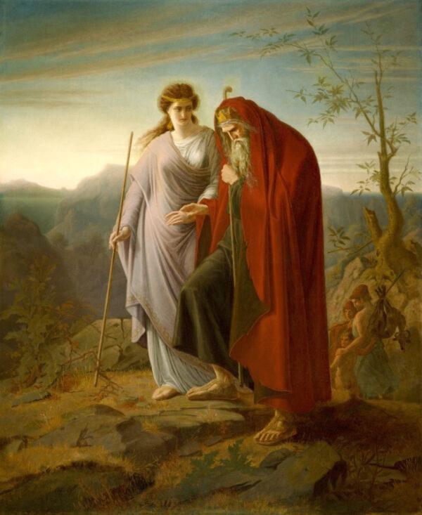 """A peça de Sófocles """"Édipo em Colonus"""" termina com o rei, que expiou seus pecados, torna-se uma bênção para a cidade onde está enterrado. """"Édipo e Antígona"""", de Franz Dietrich. Museu de Arte Crocker, Sacramento, Califórnia (PD-US)"""