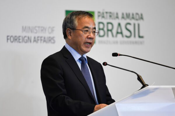 O vice-premiê chinês Hu Chunhua discursa no Seminário Empresarial Brasil-China em Pequim, China, em 25 de outubro de 2019 (MADOKA IKEGAMI / POOL / AFP via Getty Images)