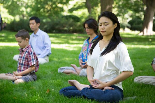 Praticantes do Falun Dafa meditam em um parque em Toronto em 2014 (JOFFERS951)