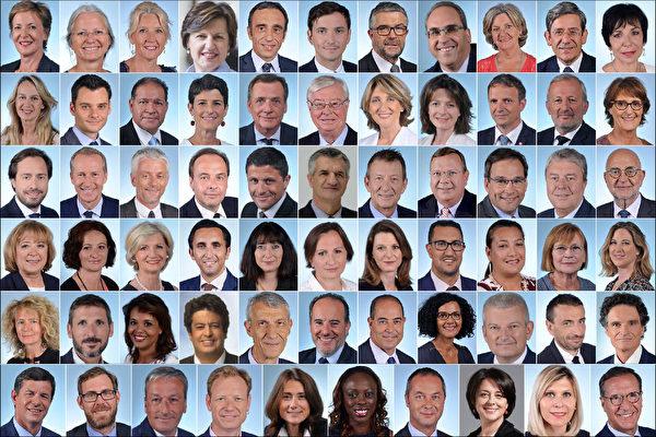 """Frédérique Dumas, deputada francessa, membro da Assembleia Nacional. A Sra. Dumas (primeira na linha superior à esquerda) iniciou a proposta de lei para """" Garantir os princípios morais da doação de órgãos"""" assinada conjuntamente por 65 deputados (Site oficial da Assembleia Nacional Francesa / Epoch Times)"""