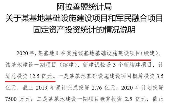 Orçamento informado pela Alxa League Statistics Bureau de 2020 para a Base 051 na Mongólia Interior, datado de 9 de junho de 2020 (Cedido ao Epoch Times)
