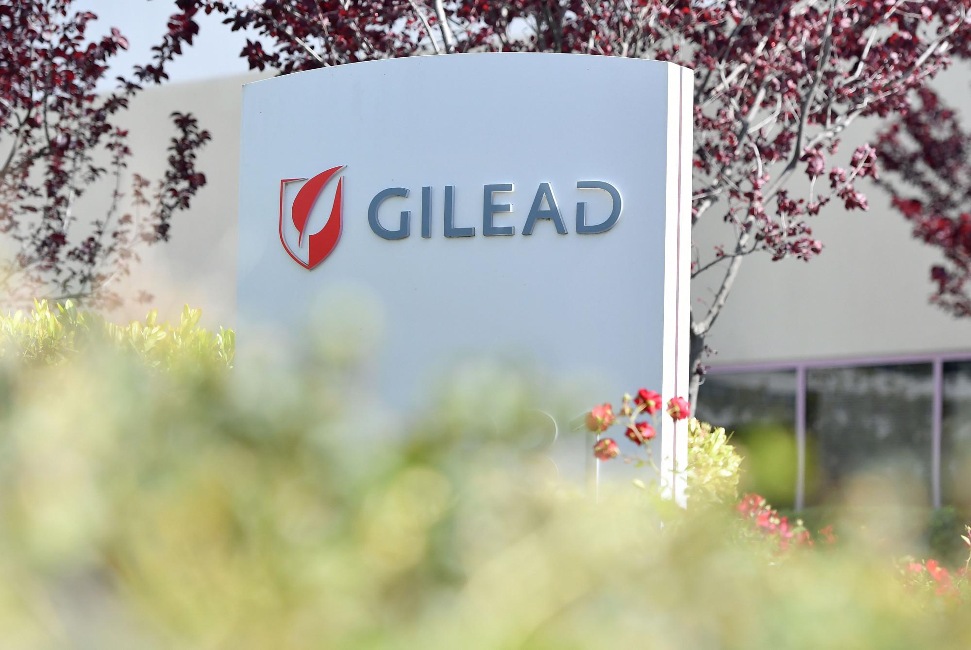 A sede da Gilead Sciences assina em Foster City, Califórnia, em 30 de abril de 2020 (Josh Edelson / AFP via Getty Images)