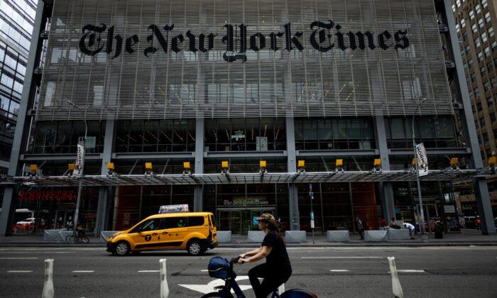 Edifício do New York Times na cidade de Nova Iorque, N.Y., em 30 de junho de 2020 (Johannes Eisele / AFP via Getty Images)