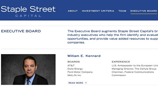No site oficial da diretoria executiva da Staple Street Equity, você pode ver Kennard (William Kennard)(Retirado do site da Staple Street Capital)