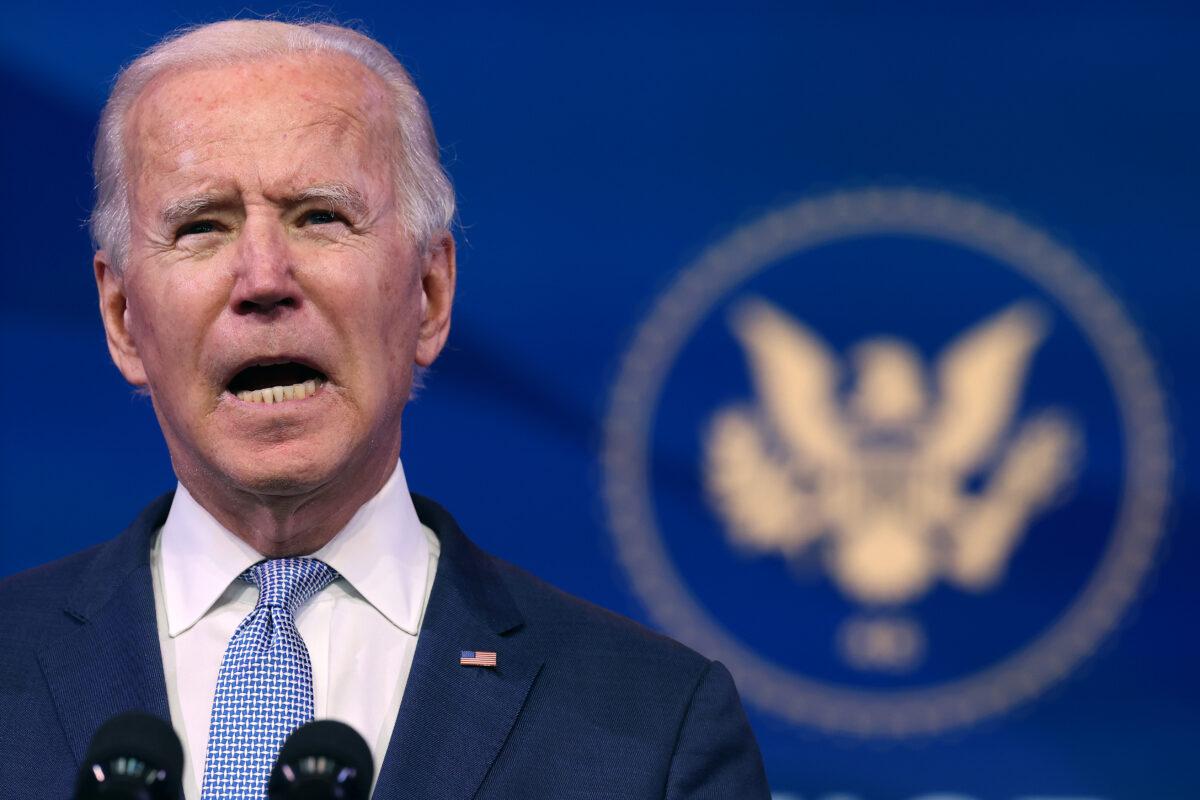 O presidente eleito Joe Biden faz um discurso em Wilmington, Delaware, em 6 de janeiro de 2021 (Chip Somodevilla / Getty Images)