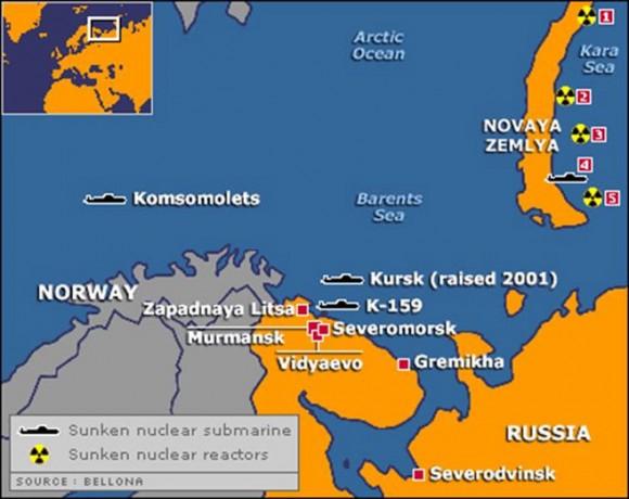 Um mapa dos perigos nucleares soviéticos/russos no Ártico (Bellona Foundation)