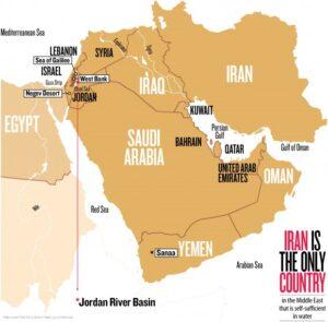 mapa aquático do médio oriente