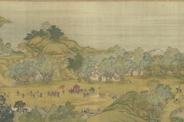 """A versão da Dinastia Qing de """"Subindo o Rio durante o Qingming"""", uma pintura em pergaminho que mostra um noivo indo para a casa da noiva para acompanhá-la em seu casamento (Cortesia do Museu do Palácio Nacional)"""