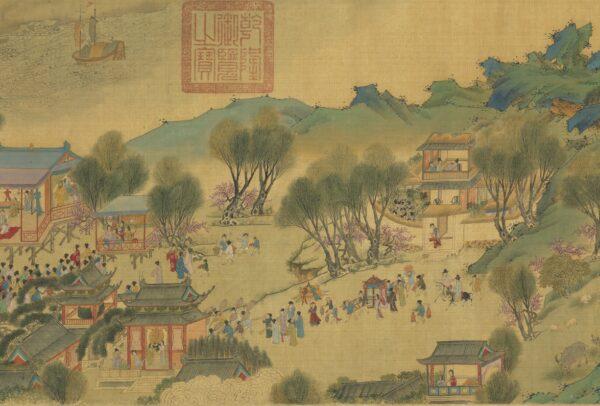"""""""Subindo o rio durante o Qingming"""" da dinastia Ming (Cortesia do Museu do Palácio Nacional)"""